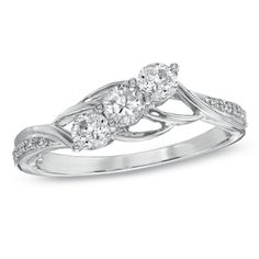 1/2 CT. T.W. Diamond Three Stone Slant Ring in 10K White Gold - View All Rings - Zales