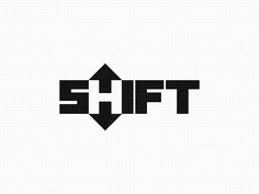 """""""SHIFT"""" #logo shows letter """"H"""" in the negative space of up and down arrows. Also shows a shift by way of white """"H"""" in otherwise white SHIFT."""