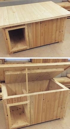Awful Ideas base on Wood Pallet Beds & Cupboard – Pallet dog house Wood Dog House, Pallet Dog House, Wood Pallet Beds, Dog House Plans, Wood Pallets, Large Dog House, Pallet Furniture, Furniture Ideas, Positive Dog Training