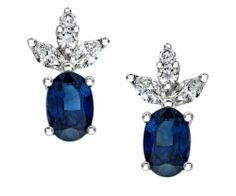 18ct #White #Gold 0.33ct Diamond and Sapphire Leaf Earrings
