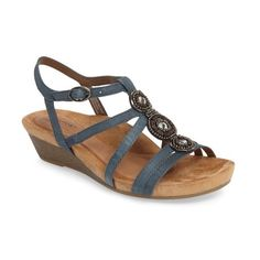 Women's Rockport Cobb Hill 'Hannah' Leather Sandal (175 BGN) ❤ liked on Polyvore featuring shoes, sandals, blue nubuck, leather wedge sandals, blue strappy sandals, strappy sandals, blue wedge shoes and strappy leather sandals