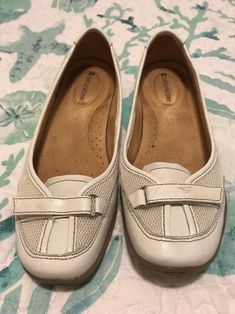 9e5ce7ead866 Naturalizer Womens White Slip On Ballet Flats Shoes Size 8 M Caldwell  Leather S  fashion