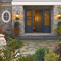 Spaces Outside Entry Design, Pictures, Remodel, Decor and Ideas - page 9 Front Door Porch, House Front, My House, Double Front Doors, Solid Doors, Door Entryway, Entry Doors, Patio Extension Ideas, Facade House