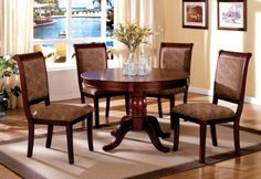 Furniture of America Bernette 5-Piece Round Dining Table Set, Antique Cherry Finish
