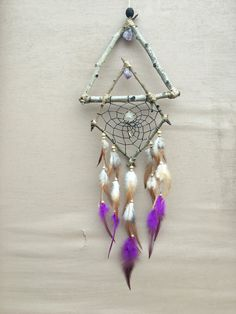 Natural Geometric Aspen Wood and Purple Amerhyst Dream Catcher | Abstract Double Frame Gypsy Style Dreamcatcher by MerakiEffect on Etsy https://www.etsy.com/listing/507015896/natural-geometric-aspen-wood-and-purple