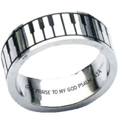 view Music Keyboard Christian Stainless Ring in more detail $16.99