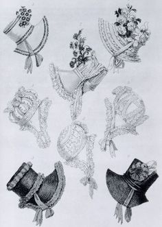 Fashion plate of mid-Regency (18-teens) bonnets. Note the tall crowns, which became quite the rage through the early 1820s.