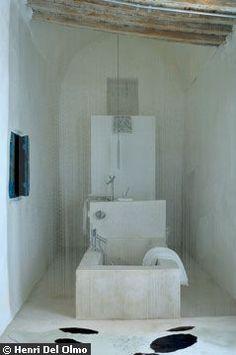 Whoa, next generation bathroom! Contemporary Bathrooms, Modern Bathroom, Narrow Bathroom, Interior Architecture, Interior And Exterior, White Washed Oak, Tadelakt, Bathroom Taps, Frameless Shower