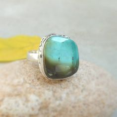 Turquoise Ring Turquoise Gemstone Jewelry by FineSilverStudio