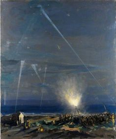 A Coast Defence: An 18-Pounder Anti-Aircraft Gun, Tyneside by John Lavery.  Date painted: 1917