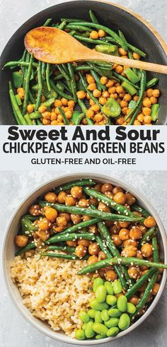 These sweet and sour chickpeas and green beans is a healthy vegan recipe thats perfect for a quick weeknight dinner. Not only is this dish super easy to make but it also takes 10 minutes from start to finish. Gluten-free and oil-free. Vegan Dinner Recipes, Vegan Dinners, Vegan Recipes Easy, Veggie Recipes, Whole Food Recipes, Healthy Dinners, Vegetarian Recipes Green Beans, Recipes With Beans Healthy, Super Food Recipes