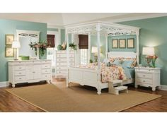 Plantation Cove White Canopy Bedroom Collection  Value City Simple Value City Furniture Bedroom Sets Design Decoration