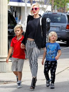 Hollywood's Most Stylish Moms: From her hot pink shades to her cropped top and striped pants, Gwen Stefani pulls out all the stops to take sons Kingston and Zuma to buy toys in L.A.