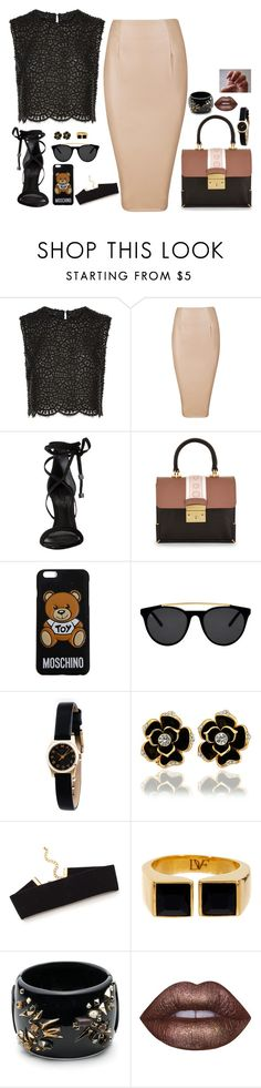 """""""Untitled #780"""" by sophia-etr ❤ liked on Polyvore featuring Costarellos, Schutz, Moschino, Smoke x Mirrors, Marc by Marc Jacobs, Diane Von Furstenberg, Alexis Bittar and Lime Crime"""
