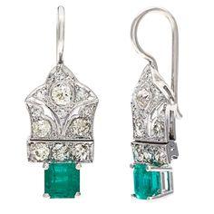 Pre-owned Platinum 1 1/10ct TDW Diamond Emerald Estate Earrings (I-J, SI1-SI2)
