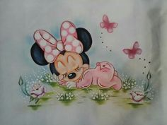 Minnie Mouse Images, Mickey Minnie Mouse, Baby Painting, Fabric Painting, Art Drawings For Kids, Disney Drawings, Cute Disney, Disney Art, Minnie Tattoo