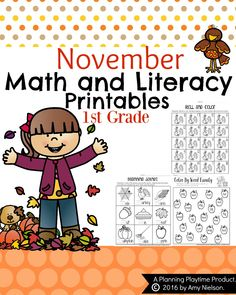 Grade Math and Literacy Printables - November by Planning Playtime Number Words Worksheets, Literacy Worksheets, First Grade Worksheets, Free Printable Worksheets, 1st Grade Math, Grade 1, Math Activities, Printables, Seasons Worksheets