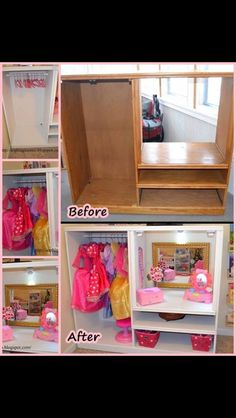 An old TV cabinet turned into a child's dress up station!