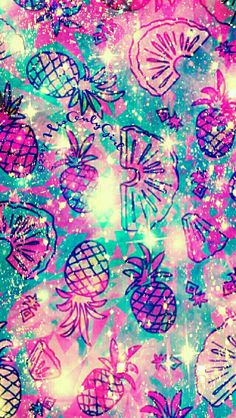Summer Pineapple surprise galaxy iPhone/Android wallpaper I created for the app CocoPPa.