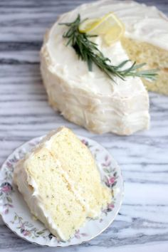 Making this gluten free!! Fluffy Lemon-Rosemary Layer Cake with Lemon Cream Cheese Frosting- Baker Bettie