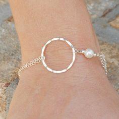 Silver Infinity Bracelet, Eternity Bracelet, White Pearl Bracelet, Best Friend Friendship Gift, Sterling Silver Jewelry Handmade