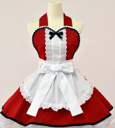 Alice in Wonderland Christmas Apron- Red.