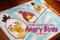 Angry Birds Chalk Pastel #Art Fun at Hodgepodge. He, he, he :)