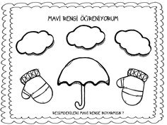 MAVİ RENGİ ÖĞRENİYORUM Preschool Kindergarten, Mobile App, Montessori, Worksheets, Children, Kids, Mandala, Clip Art, Handmade