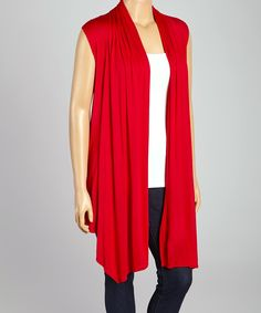 Love this Red Drape Open Vest - Plus by Poliana Plus on #zulily! #zulilyfinds