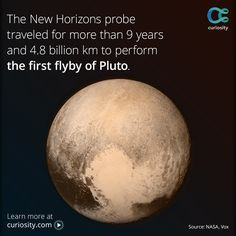 Learn what surprising objects are aboard the New Horizons probe, and follow its nine-year journey through the solar system: https://curiosity.com/memes/humanity-says-hi-to-pluto-for-the-first-time/?utm_source=facebook&utm_medium=social&utm_term=4pm&utm_content=meme&utm_campaign=20150714fbpluto#nasa-four-questions-about-new-horizons-nasa-goddard This photo of Pluto was taken on July 13, 2015 at a distance of 766,000 km (476,000 mi) from the surface, just before the probe's closest approach.