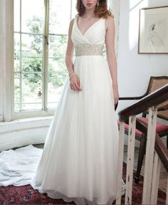 Love the sash - too structured with the straight lines? Or good to contrast with the flowy v-neck...