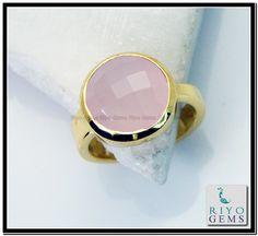 Rose Quartz Gem Stone 18kt Gold Platings Claddagh Ring Sz 9 Gprroq9-6831 http://www.riyogems.com