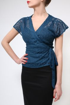 The Petrol Lace Marina Top by BANNOU - Tops