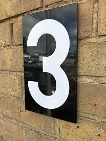Acrylic House Numbers White on Black
