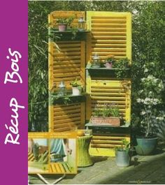 récup ancien volet sur lequel on peut ensuite accrocher des jardinière : peut servir de paravent dans le jardin ?