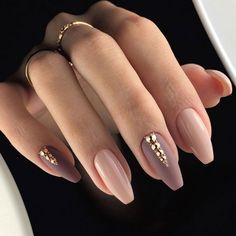 Charming Coffin Nails In Mauve Nail Colors With Tiny Rhinestones #coffinnails #mattenails #rhinestonenail