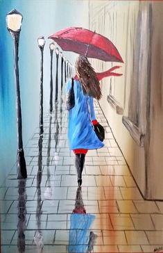 A stunning painting of a lady heading towards home with her red umbrella in the…