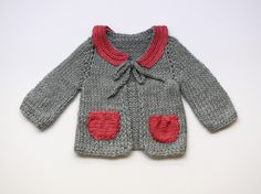 Stylish grey and pink baby sweater by evahandmade on Etsy, $66.00
