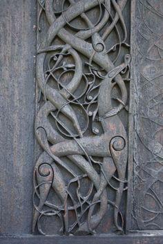 Carved Wood Church Door, Urnes, Norway