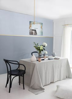 Forny med farger (9) Scandinavian Style, Sweet Home, Dining Table, Grey Stuff, Wall, Pastels, Furniture, Color, Design Ideas