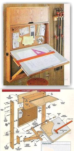 Fold-Down Drafting Table Plans - Workshop Solutions Projects, Tips and Tricks | WoodArchivist.com #WoodworkPlans