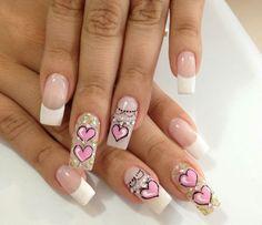 Uñas Pink Nails, Pretty In Pink, Nail Art Designs, Finger, Beauty, Nail Arts, Art Nails, Adhesive, Templates