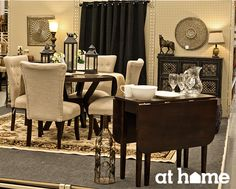 AT HOMECreate your own inviting dining room by utilizing warm and neutral tones such as a brown, taupes and creams. Everything from the curtains to the paige thayer rug creates an intimate setting to enjoy spending time with friends and family. Home Decor Styles, Diy Home Decor, Room Decor, Interior Decorating, Interior Design, Decorating Tips, Cream Living Rooms, Furniture Inspiration, Furniture Ideas