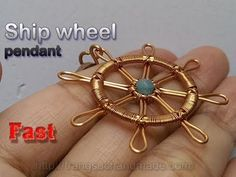 (88) Ship wheel pendant from copper wire and small stone - Fast version 330 - YouTube