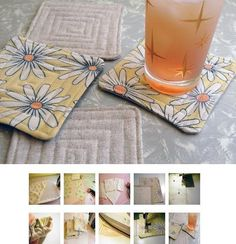 DIY Upcycled quilted coasters (Apartment Therapy) I love coasters Quilting Projects, Sewing Projects, Quilting Ideas, Recycling Projects, Diy Projects, Sewing Tips, Sewing Ideas, Sewing Patterns, Quilted Coasters
