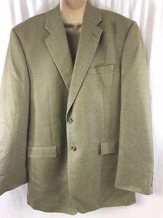 LAUREN Ralph Lauren Mens Sport Coat 46L Herringbone Silk Wool Green 2 Buttons #LaurenRalphLauren #TwoButton #doublevented #greenlabel #silkwool #46L