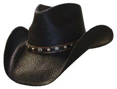 STEEL HORSE Black Shapeable Panama Straw Cowboy Hat 3 shapeable wire enhanced brim with a 4 Pinchfront Crown Leather Hat Band with Round Star conchos Similar Style is the TERRI, look under o Leather Cowboy Hats, Cowgirl Hats, Mens Cowboy Hats, Black Cowboy Hat, Cowboy Gear, Gaucho, Mens Western Hats, Cowboy Hat Styles, Estilo Cowgirl