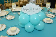 Tiffany Balloon Centerpiece Base with Custom Logo Cutout