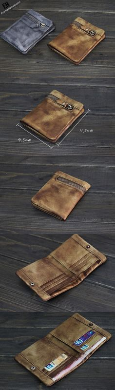 Handmade Men short leather wallet men vintage brown gray card wallet for him