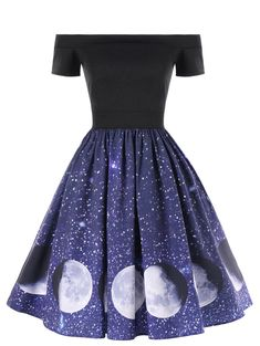 $12.95 - Women Evening Party Dress Off The Shoulder Galaxy Moon Print Swing A-Line Dress #ebay #Fashion